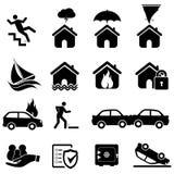 De pictogrammen van de verzekering en van de ramp Stock Foto's