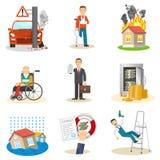 Verzekering en risicopictogrammen Stock Afbeelding