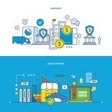 Verzekering, financiën, modern onderwijs, het leren, het onderwijzen en onderzoek, zaken vector illustratie