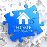 Verzekering - Huispictogram op Blauw Raadsel. Stock Afbeeldingen