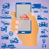 Verzekering op mobiel Stock Afbeeldingen