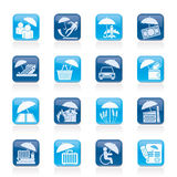 Verzekering, risico en bedrijfspictogrammen Royalty-vrije Stock Afbeelding