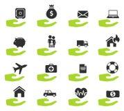 Verzekerings eenvoudig pictogrammen Royalty-vrije Stock Fotografie