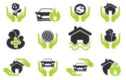 Verzekerings eenvoudig pictogrammen Royalty-vrije Stock Foto