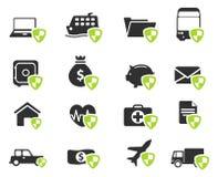 Verzekerings eenvoudig pictogrammen Stock Afbeelding
