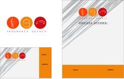 Verzekerings modern embleem, Adreskaartje, Vlieger Royalty-vrije Stock Fotografie