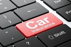 Verzekeringsconcept: Autoverzekering op de achtergrond van het computertoetsenbord Stock Foto's
