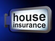Verzekeringsconcept: Huisverzekering op aanplakbordachtergrond Stock Fotografie