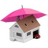 Verzekeringshuis, huis, het leven, autobescherming Kopende huis en auto voor familiepictogram Bescherm mensen concepten 3D Illust Royalty-vrije Stock Foto's