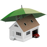 Verzekeringshuis, huis, het leven, autobescherming Kopende huis en auto voor familiepictogram Bescherm mensen concepten 3D Illust Royalty-vrije Stock Afbeelding