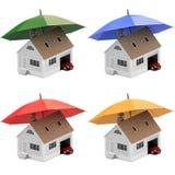Verzekeringshuis, huis, het leven, autobescherming Kopende huis en auto voor familiepictogram Bescherm mensenconcepten 3D Illustr Stock Foto