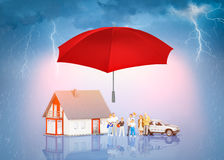 Verzekeringshuis Live Car Protection Concept Stock Fotografie