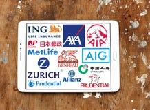 Verzekeringsmaatschappijenemblemen en pictogrammen Stock Foto's