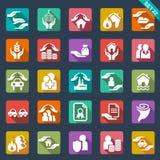 Verzekeringspictogrammen Stock Foto's