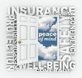 Verzekeringsword de Beschermingsveiligheid van de Deur 3D Collage Stock Afbeeldingen