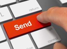 Verzend duwend toetsenbord met vinger 3d illustratie Stock Foto