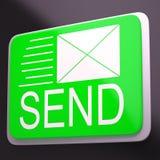 Verzend Envelop toont Elektronisch Bericht Mededeling Wereldwijd Stock Afbeeldingen