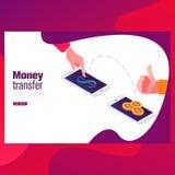 Verzend geld goedkope prijs vlakke vectorneonillustratie voor ui ux Web en mobiel ontwerp met tekst en knoop stock illustratie