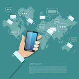 Verzendend berichtenmms sms het aanrakingsscherm mobiele telefoon Stock Foto