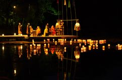 Verzendend onderaan document lantaarns bij de ceremonie, Kyoto Japan stock foto