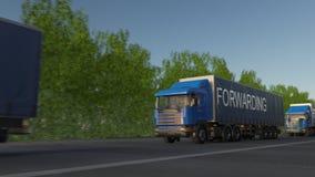 Verzendende vracht semi vrachtwagens met het DOOR:STUREN van titel op de aanhangwagen stock videobeelden