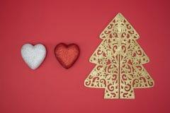 Verzieren rote Herzform des Liebes-Weihnachtsbaums Winter Stockfotografie