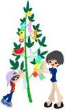 Verzieren Sie einen Bambus für Festival des Webers Stockfoto