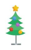Verziert mit Spielwaren und Stern-Weihnachtsbaum-Ikone stock abbildung