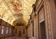 Verzierte Halle mit Freskos im Museum Palazzo Te in Mantova, Italien Lizenzfreie Stockfotos