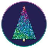 verzierter Baum Hand gezeichneter guten Rutsch ins Neue Jahr-Hintergrund Winterurlaub-Weihnachtsgrußkarte Lizenzfreie Stockbilder