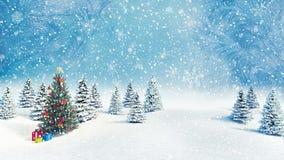 Verzierter fallender Schneehintergrund 3d des Weihnachtsbaums draußen übertragen stockfotos
