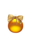 Verzierter gelber Weihnachtsball lizenzfreies stockfoto