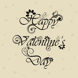 Verzierter glücklicher Valentinsgruß-Tagesblumentext Lizenzfreies Stockbild