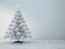 Verzierter weißer Weihnachtsbaum im Reinraum Lizenzfreies Stockbild
