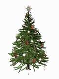 Verzierter Weihnachtsbaum über Weiß. Stockfoto