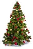 Verzierter Weihnachtsbaum auf weißem Hintergrund Stockfotografie
