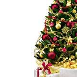 Verzierter Weihnachtsbaum auf weißem Hintergrund Stockbilder