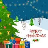 Verzierter Weihnachtsbaum mit Geschenkboxen Stockbilder