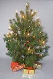 Verzierter Weihnachtsbaum mit Leuchten und Geschenken Stockfotografie