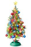 Verzierter Weihnachtsbaum mit leuchtender Girlande Stockfotos