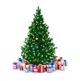 Verzierter Weihnachtsbaum und Geschenkkästen vektor abbildung