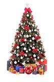 Verzierter Weihnachtsbaum und Geschenkkästen Lizenzfreie Stockbilder