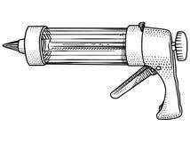 Verzierung, Ausrüstung, Creme, Kremeis, Kuchen, Gewehr, Injektor, Illustration, Stich, Zeichnung Stockfoto