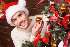 Verzierung des Weihnachtsbaums Stockfoto