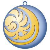 Verzierung für Weihnachtsbäume Blauer Ball mit Muster Lizenzfreies Stockfoto