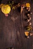 Verzierung mit Kürbis und Herbstlaub Lizenzfreie Stockfotos