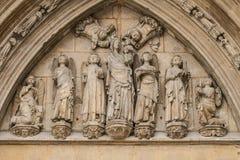 Verzierungen und Skulpturen der gotischen Art, spanische alte Kunst Stockfotografie
