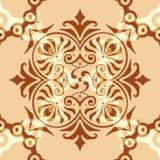 Verzierungs-abstraktes Muster nahtlos mit Brown-Hintergrund Stockfotos