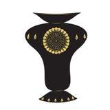 Verzierungsdesignmusters des Vase Licht-Hintergrundvektor des großen schwarzen goldener Farb Stockbild