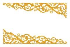 Verzierungselemente, Weinlesegoldblumenmuster Lizenzfreie Stockbilder